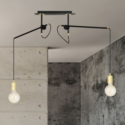 Lámpara colgante Artemis 2, 2 luces, negro