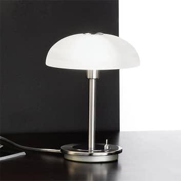 Timon bordlampe med fotbryter i matt nikkel
