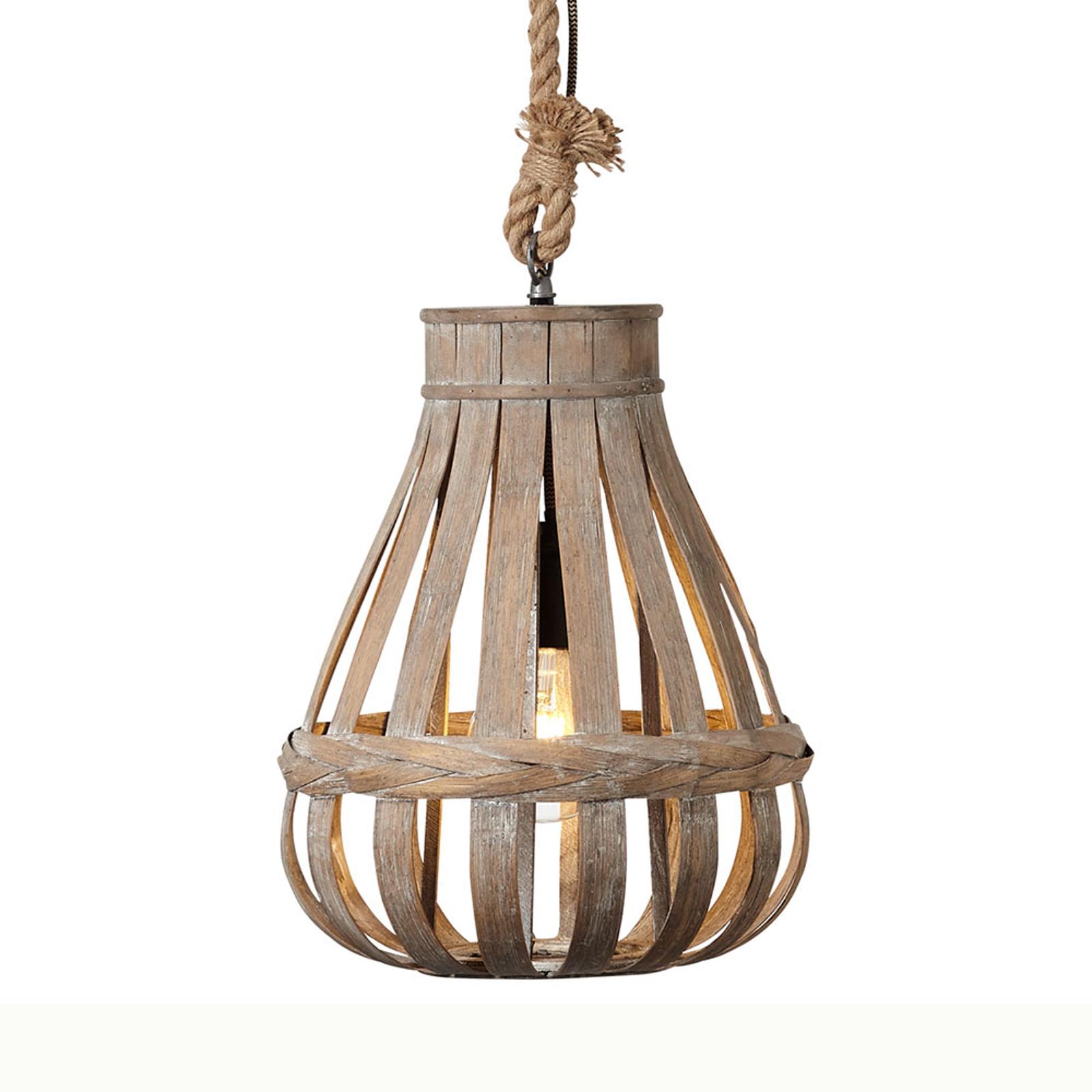 Lampa wisząca z kloszem bambusowym Kaminika 33 cm
