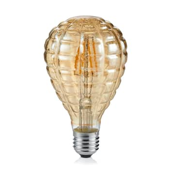 LED-Globelampe Tropfen E27 4W 2.700K strukt. amber