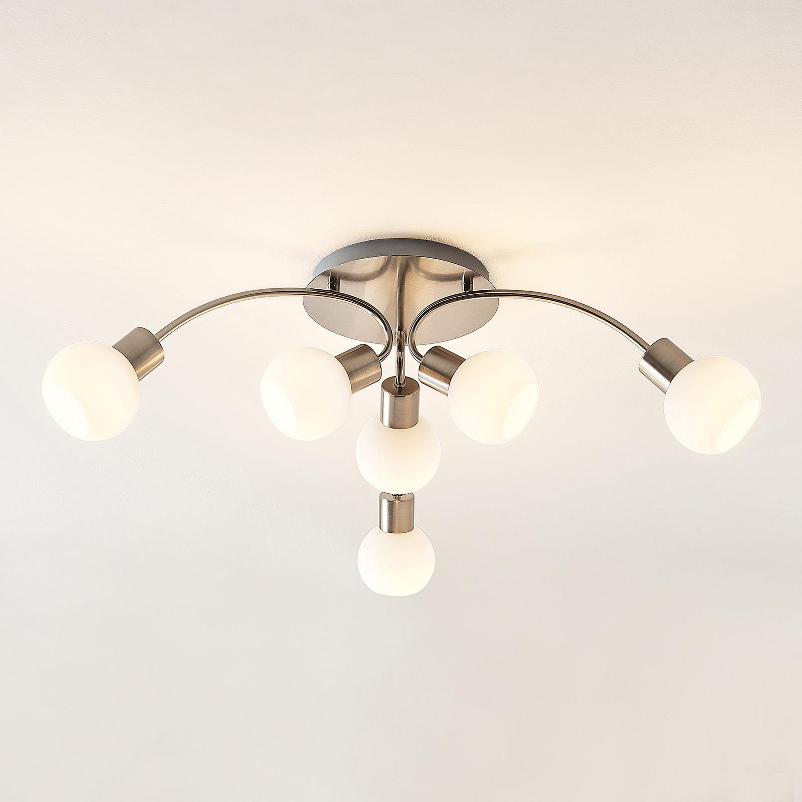 Lindby Tancerdi plafonnier LED en nickel
