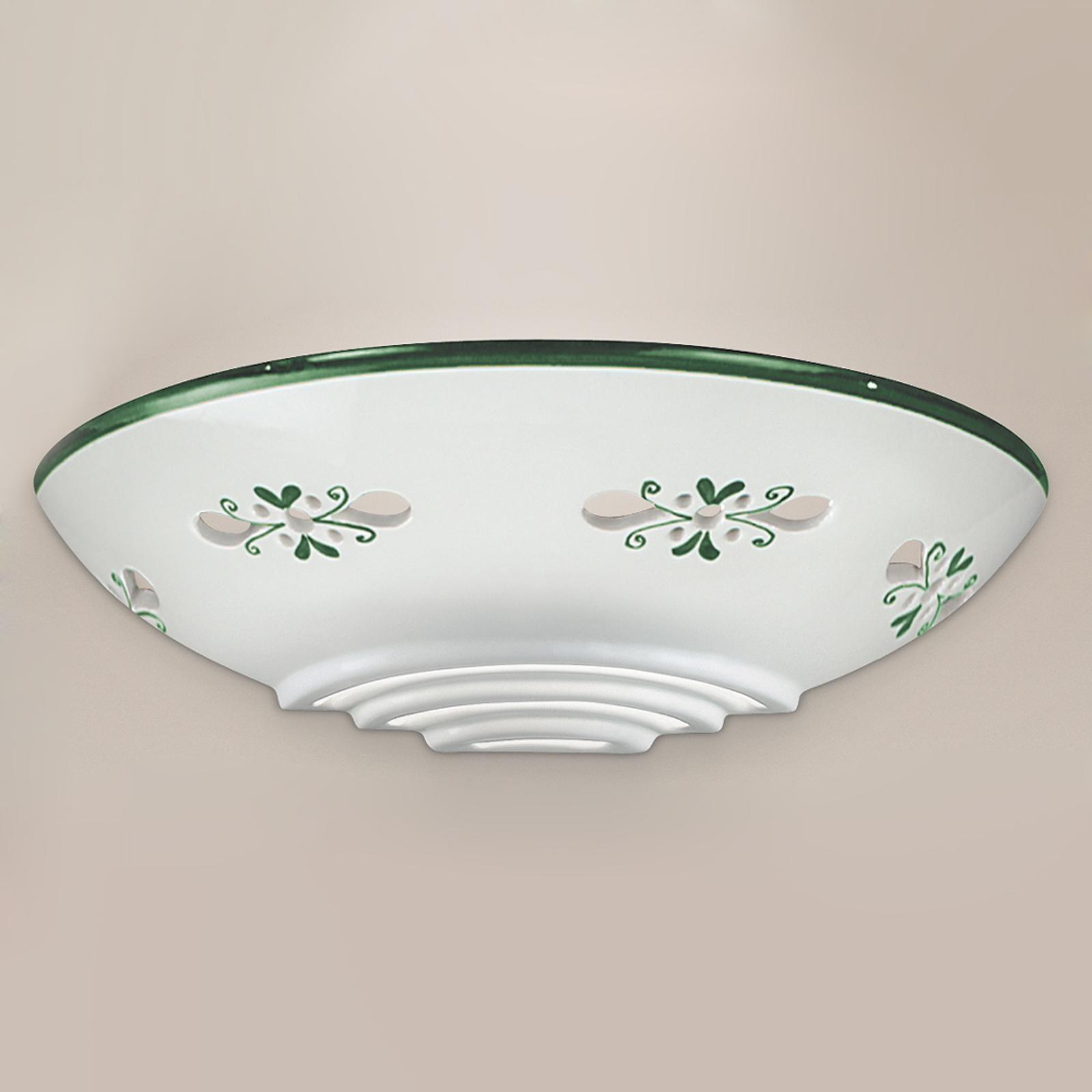 Vegglampe Bassano av keramikk, flat, grønn