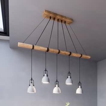Lindby Mirka LED závěsné svítidlo z betonu a dřeva