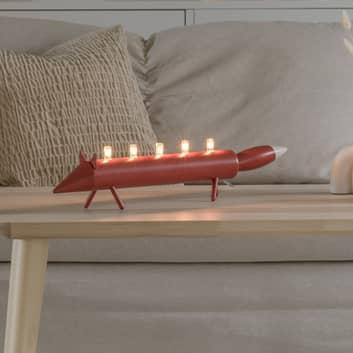 LED-Kerzenleuchter Fuchs, rot, fünfflammig