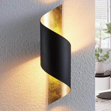 Metallvegglampe Vanni, tvunnet, svart-gull