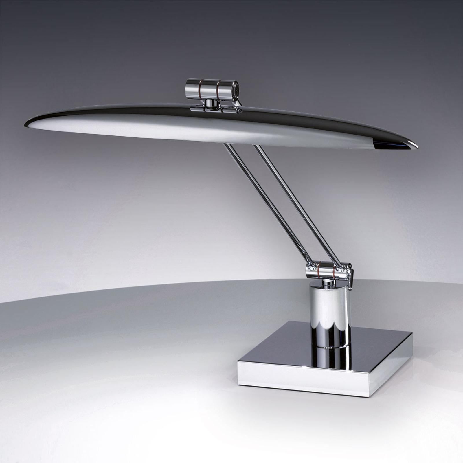 Stilren bordslampa Anabella med LED glänsande krom