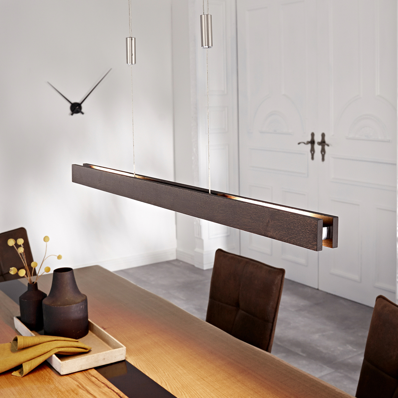 Suspension LED Alin en bois, chêne colonial, 98 cm