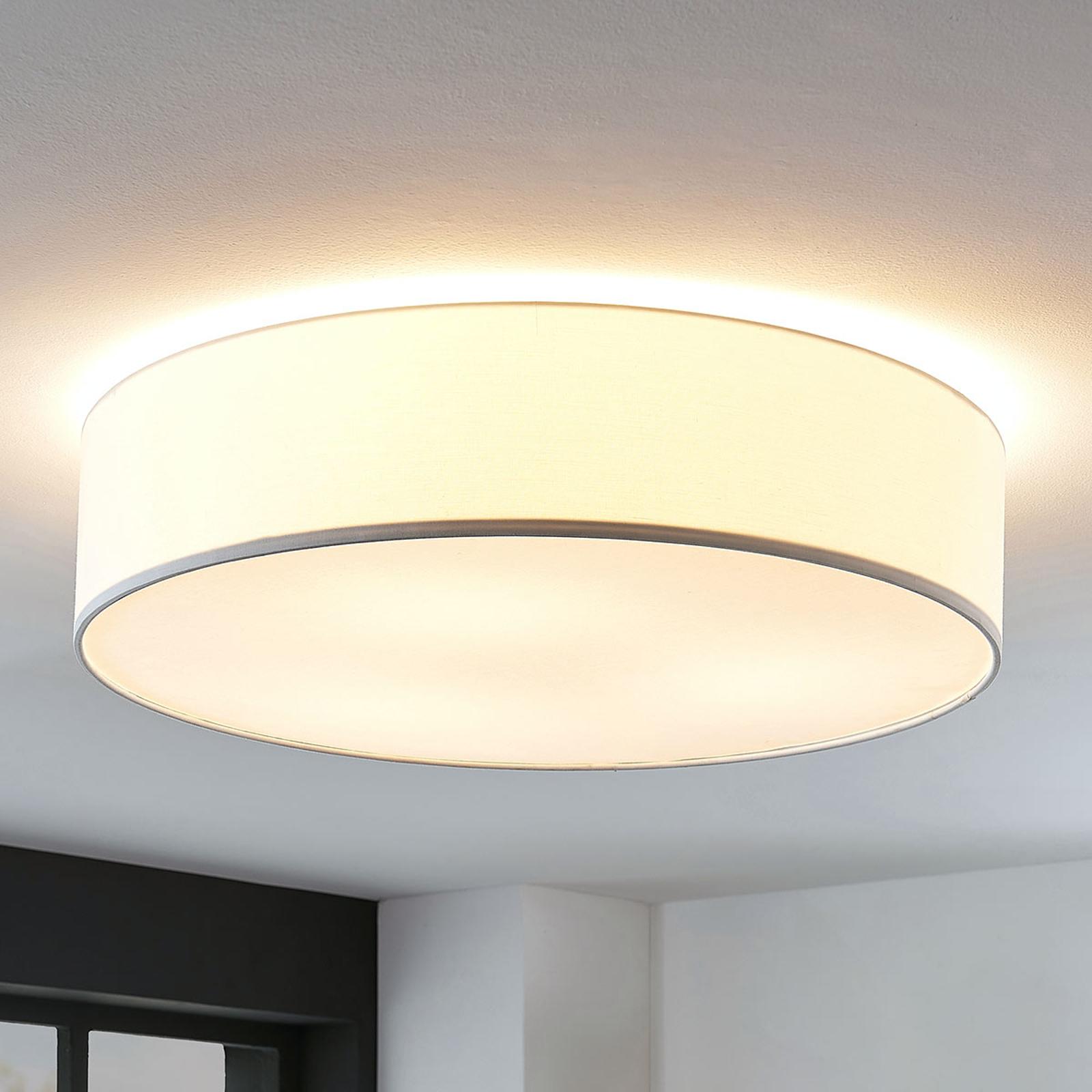 Stoff-Deckenlampe Gordana in Weiß, 57 cm