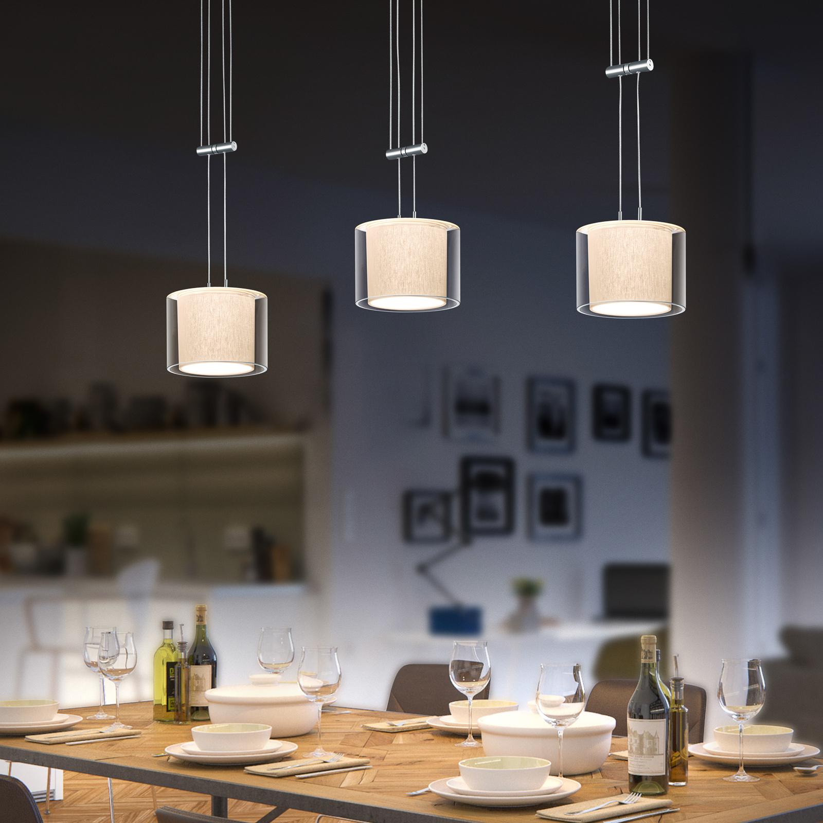 BANKAMP Cecil suspension LED, à 3 lampes