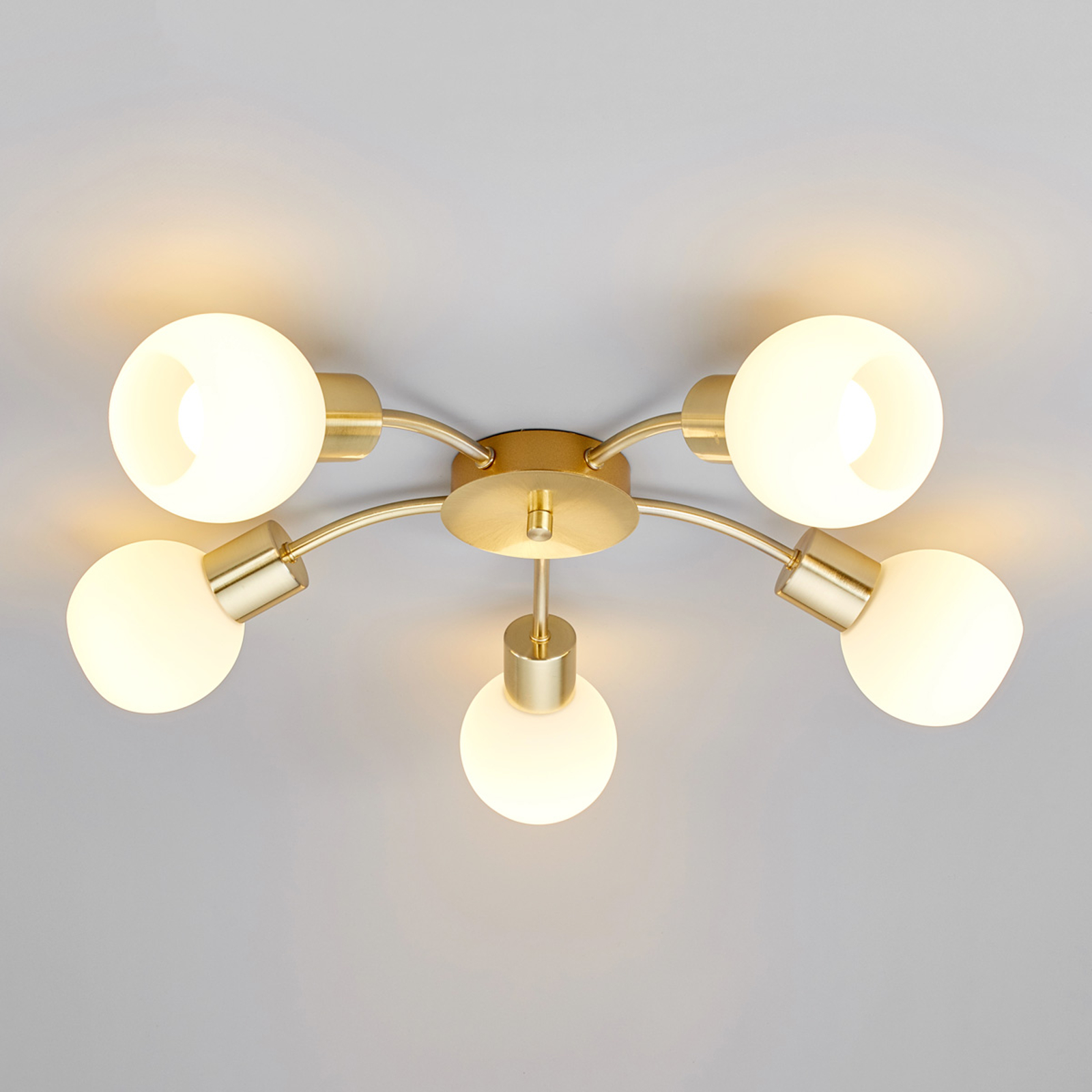 LED-Deckenleuchte Elaina 5-flg. rund, messing