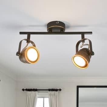GU10-LED-taklampa Leonor, svart och guld