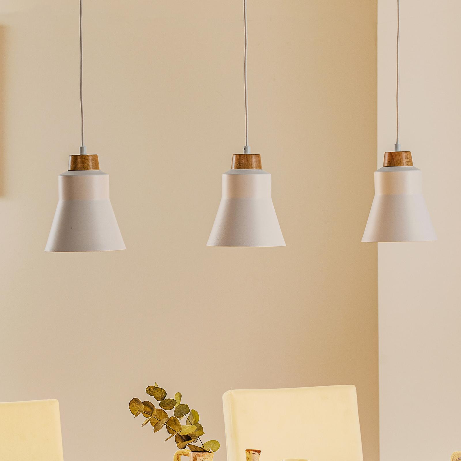 Wood hengelampe, 3 lyskilder, hvit
