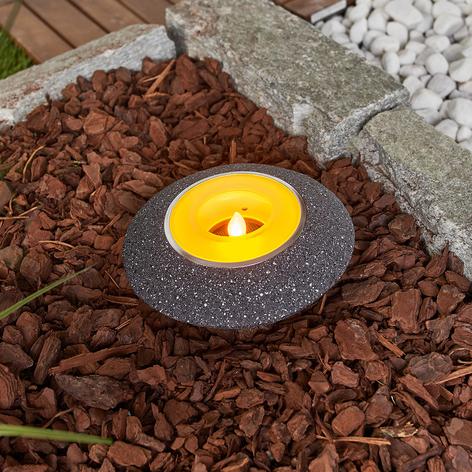 Flackerndes LED-Solar-Teelicht Shivani in Grau