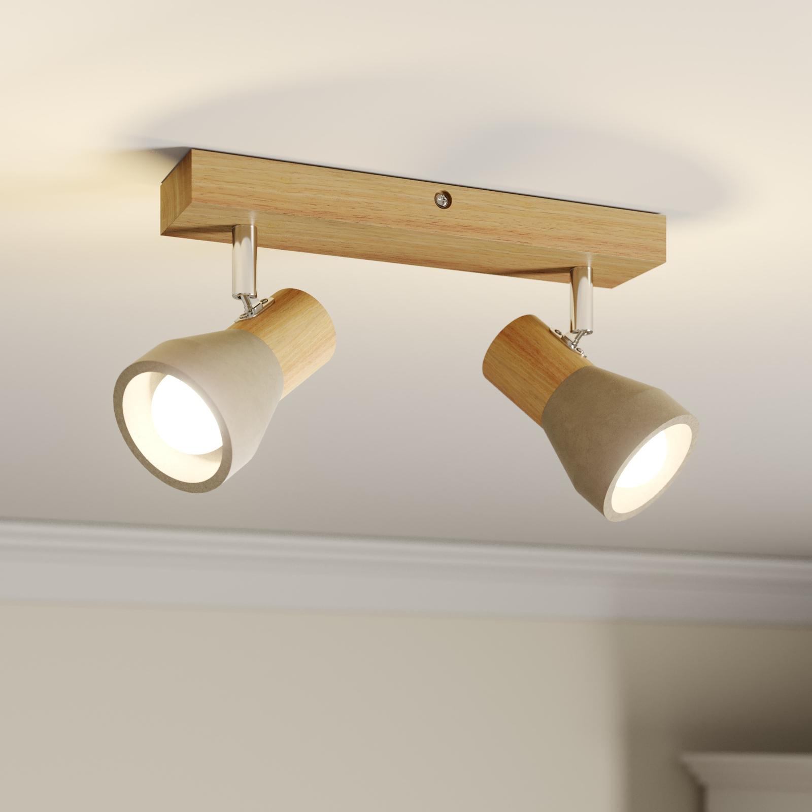 LED-Strahler Filiz aus Holz und Beton, 2-flammig