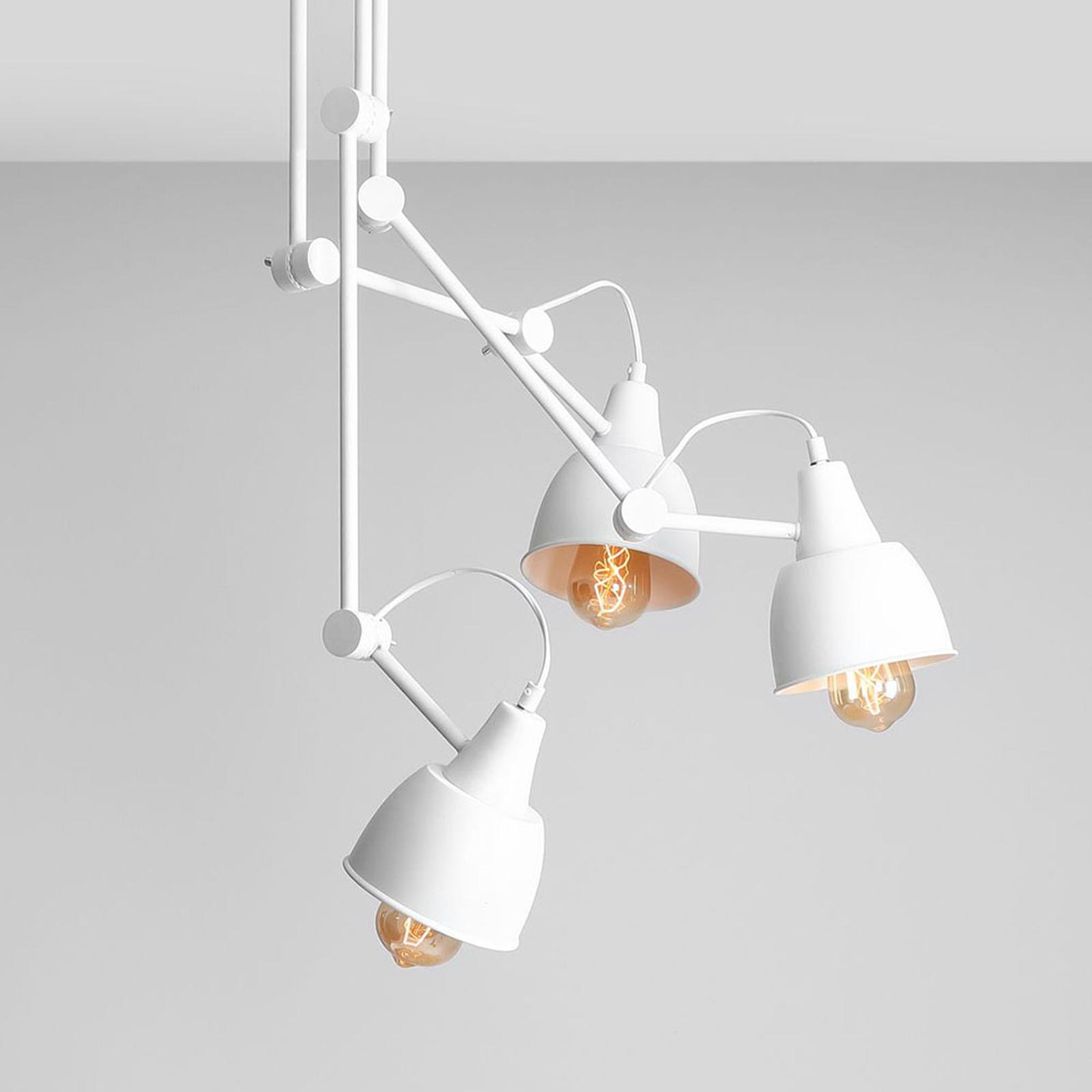 Plafondlamp 814, verstelbaar, 3-lamps, wit