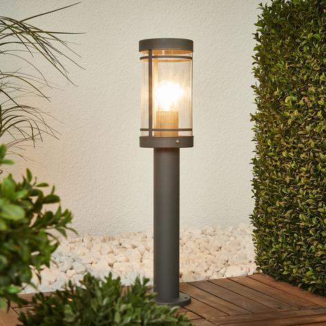 Mörkgrå sockellampa Djori av rostfritt stål