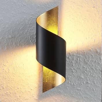 LED-vägglampa Desirio i metall, svart-guld