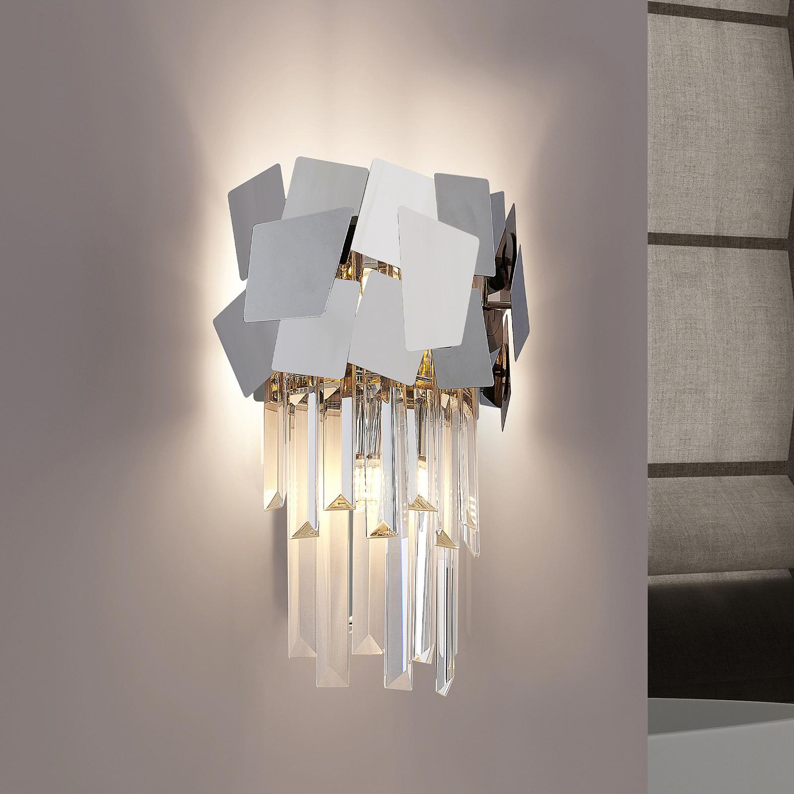 Lucande Miraia krystall-vegglampe, speileffekt