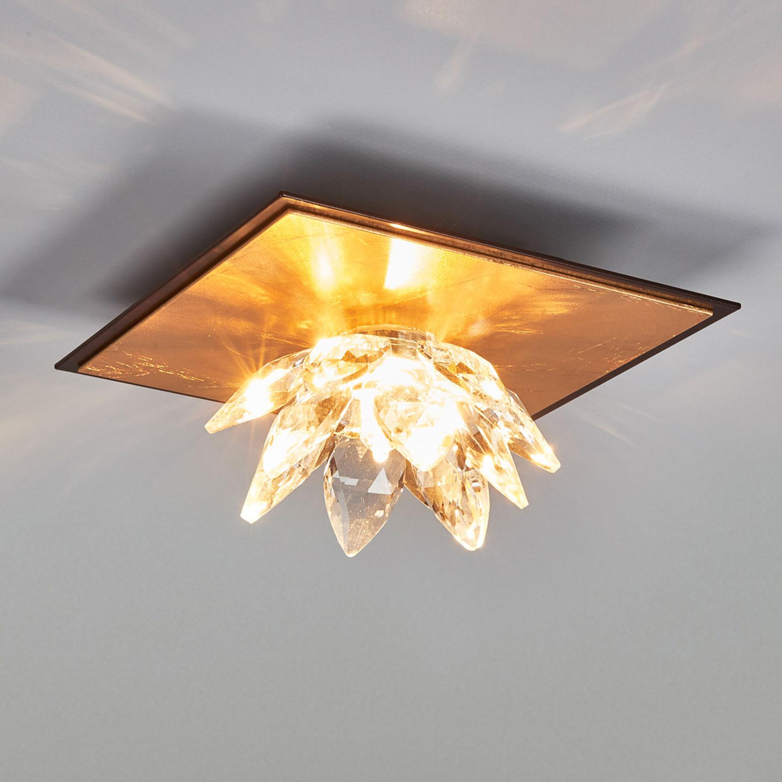 Fiore taklampe med gullblad og krystall 1lk
