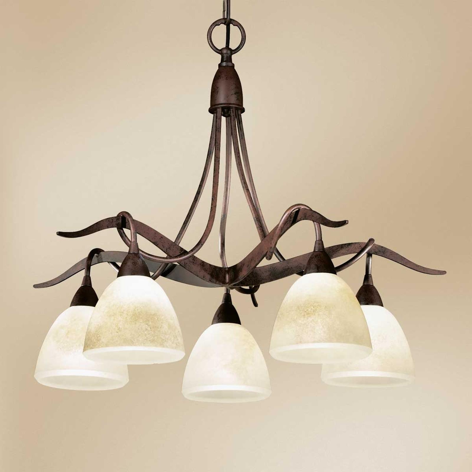 Landhuis-hanglamp Samuele, 5-lamps, scavo