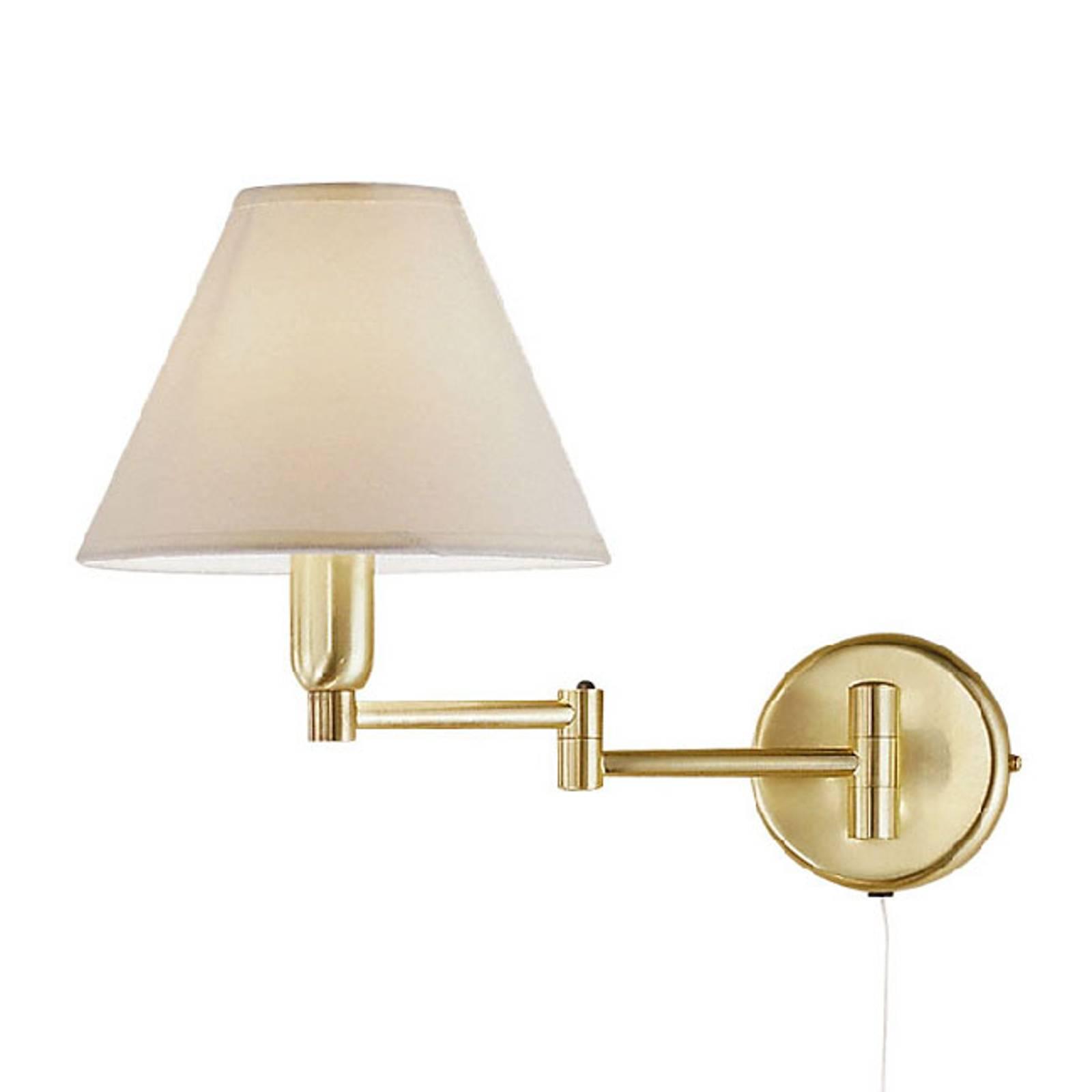 Wandlamp Hilton, witte stoffen kap, messing