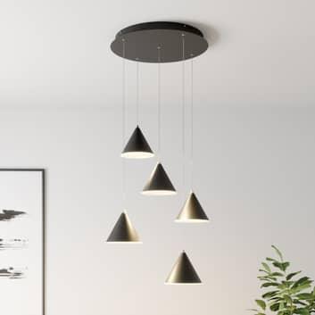 Lucande Livan LED-hængelampe, sort, 5 lyskilder