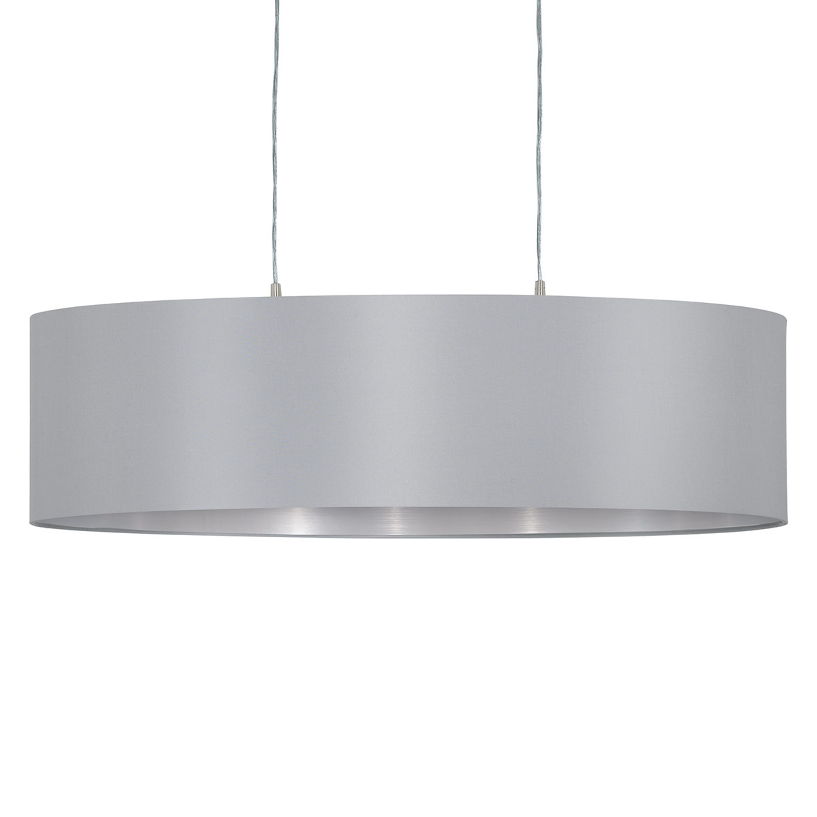 Lámpara colgante Maserlo oval, gris plateado