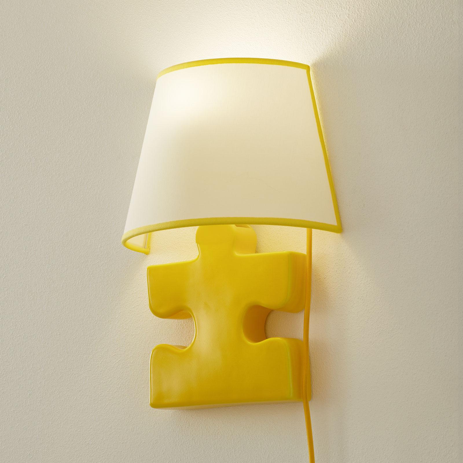 Keramik-Wandleuchte A185 mit Stoffschirm, gelb