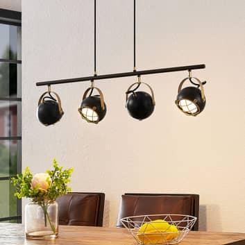 Lindby Dawid lámpara colgante LED en oro, 4 luces