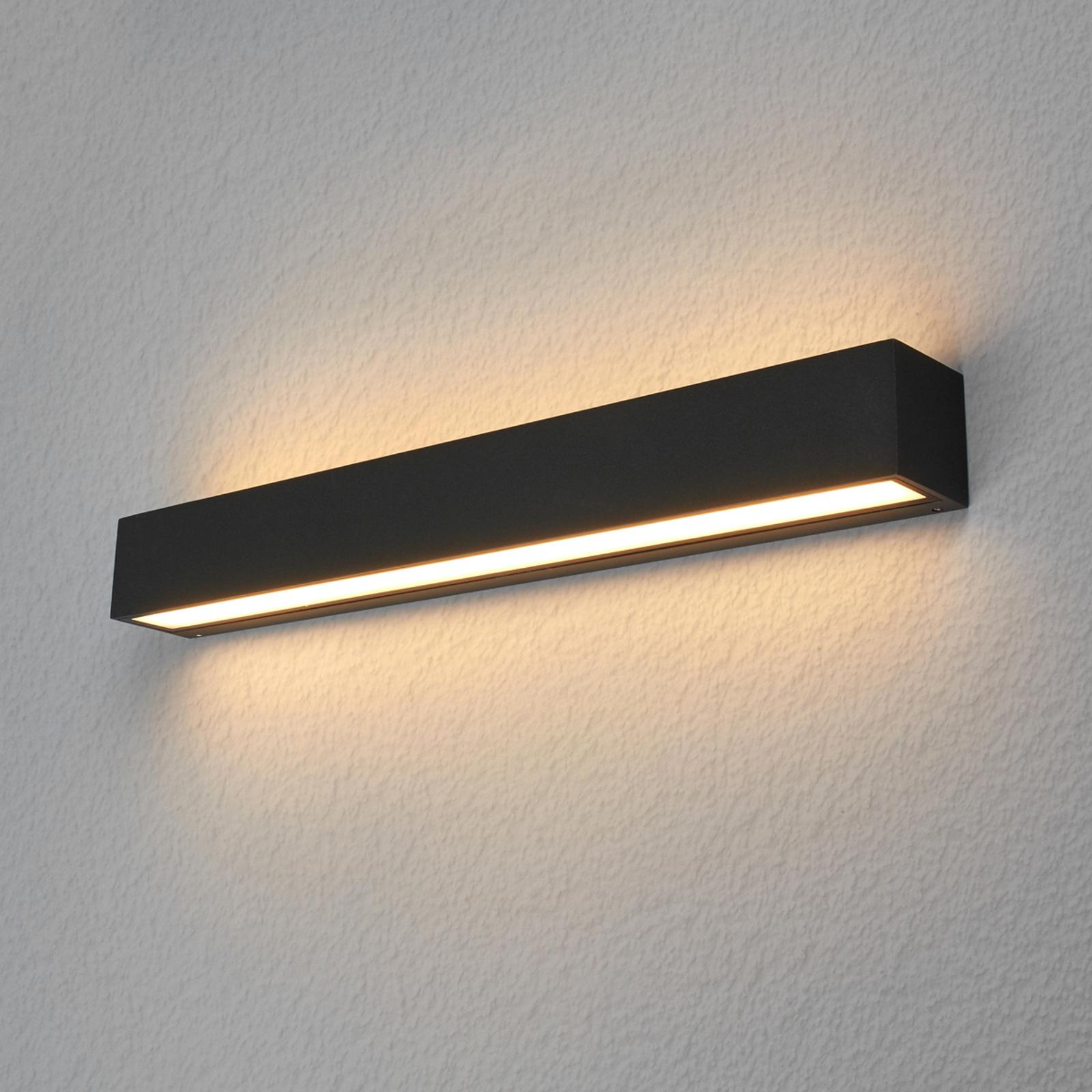 Lucande Lengo LED-vegglampe, 50 cm, grafitt, 2-lk.
