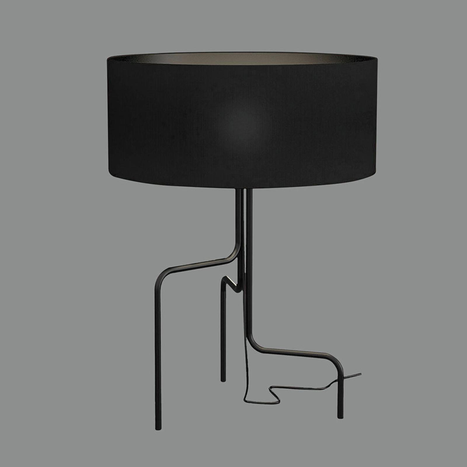 Borneo stof-bordlampe, sort, tre ben