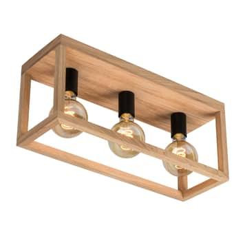 Envolight Rowan loftlampe af egetræ, 3 lyskilder
