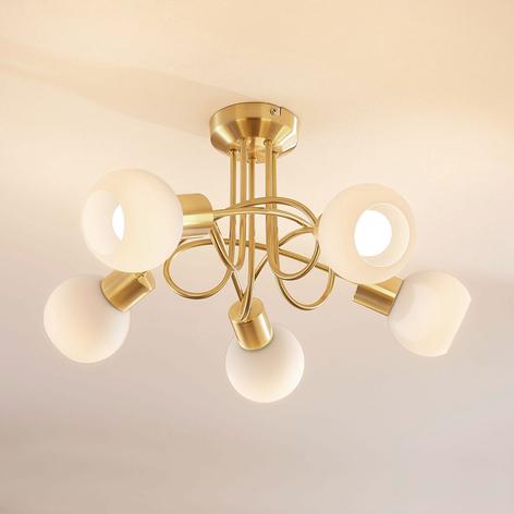 Stropní LED osvětlení Elaina, 5bodové, mosaz