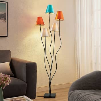 Lindby Komalie piantana, 5 luci, colorata