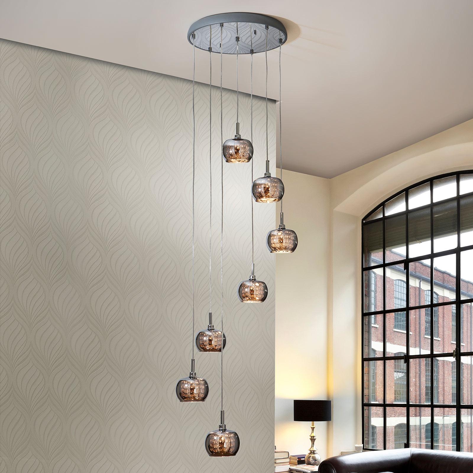 Lampa wisząca LED Arian z kryształami, 7-punktowa