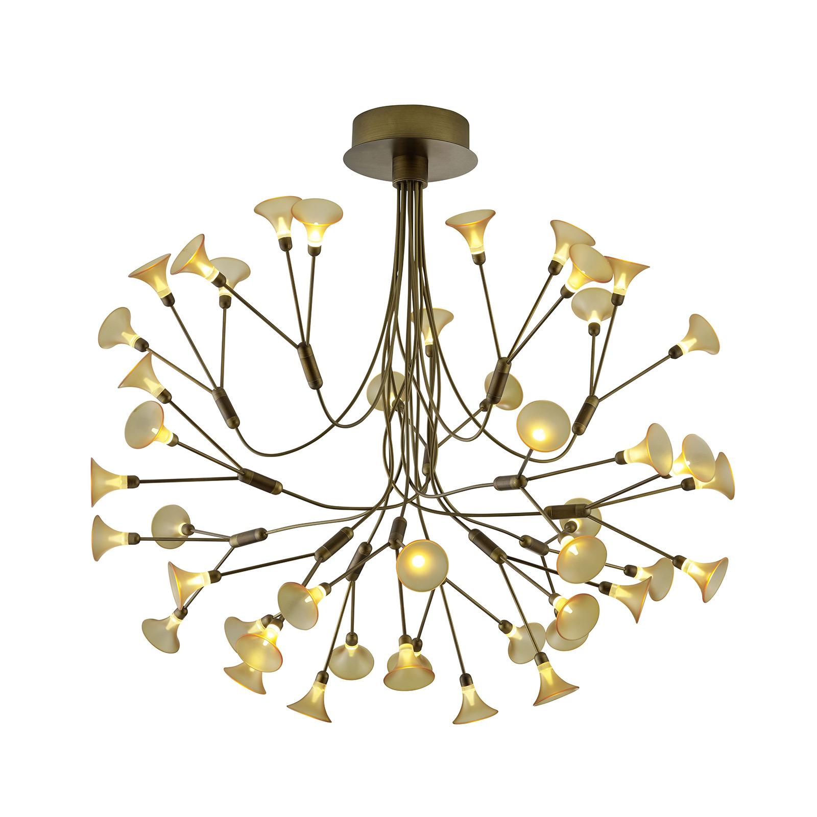 B-Leuchten Fleur lampa wisząca LED, stary mosiądz