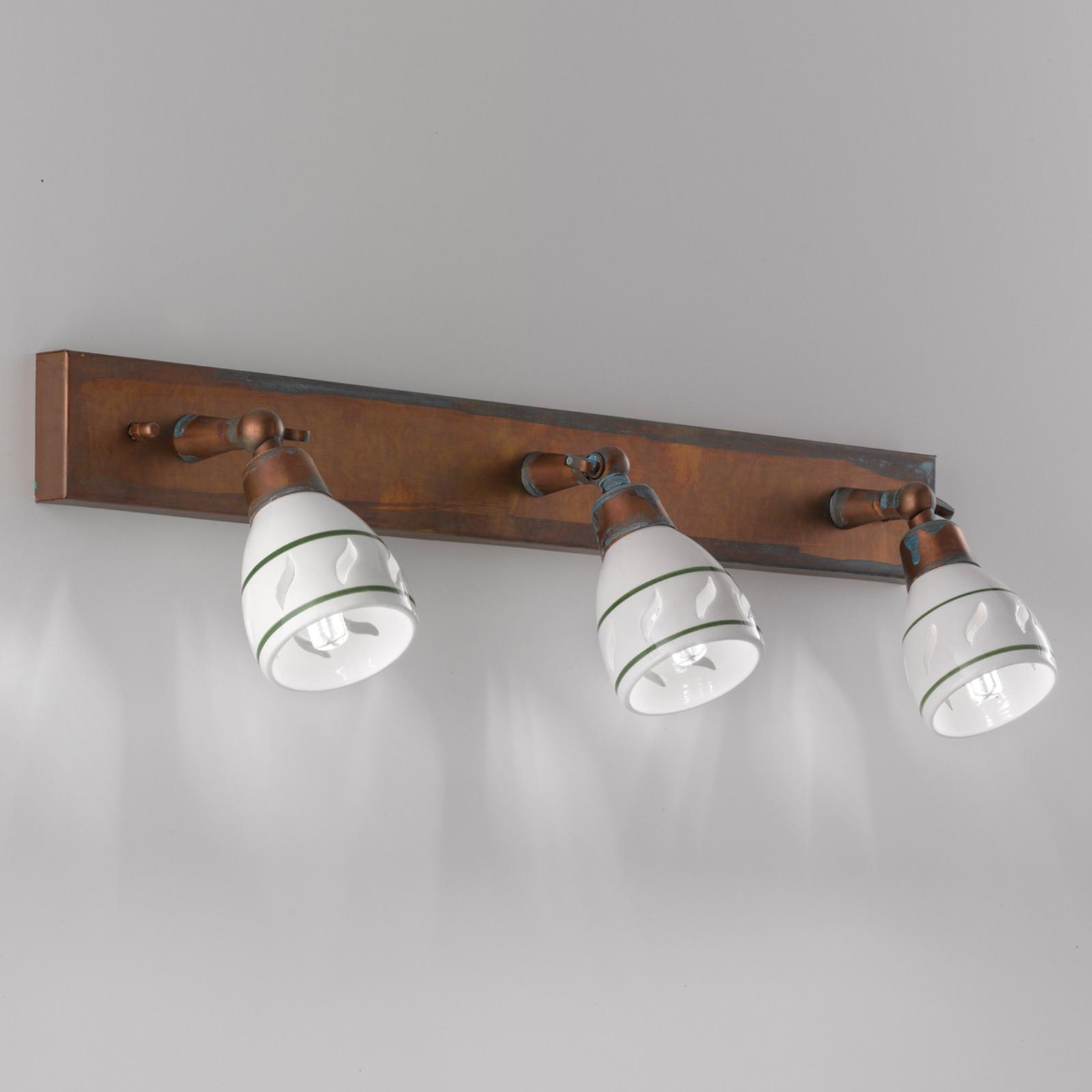 3-lichts wandlamp Bassano met antiek finish