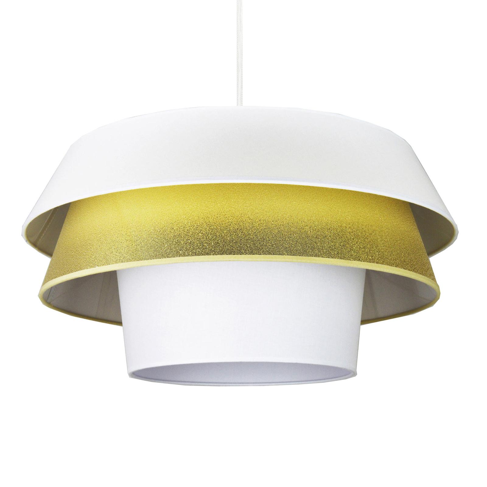 Lotos hængelampe i tekstil, hvid og guld