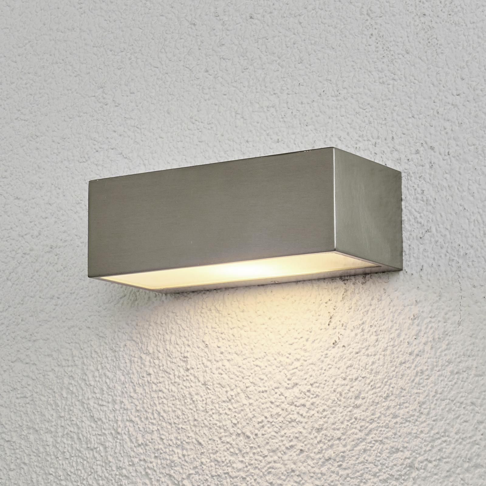 Firkantet udendørsvæglampe Leonora, rustfrit stål