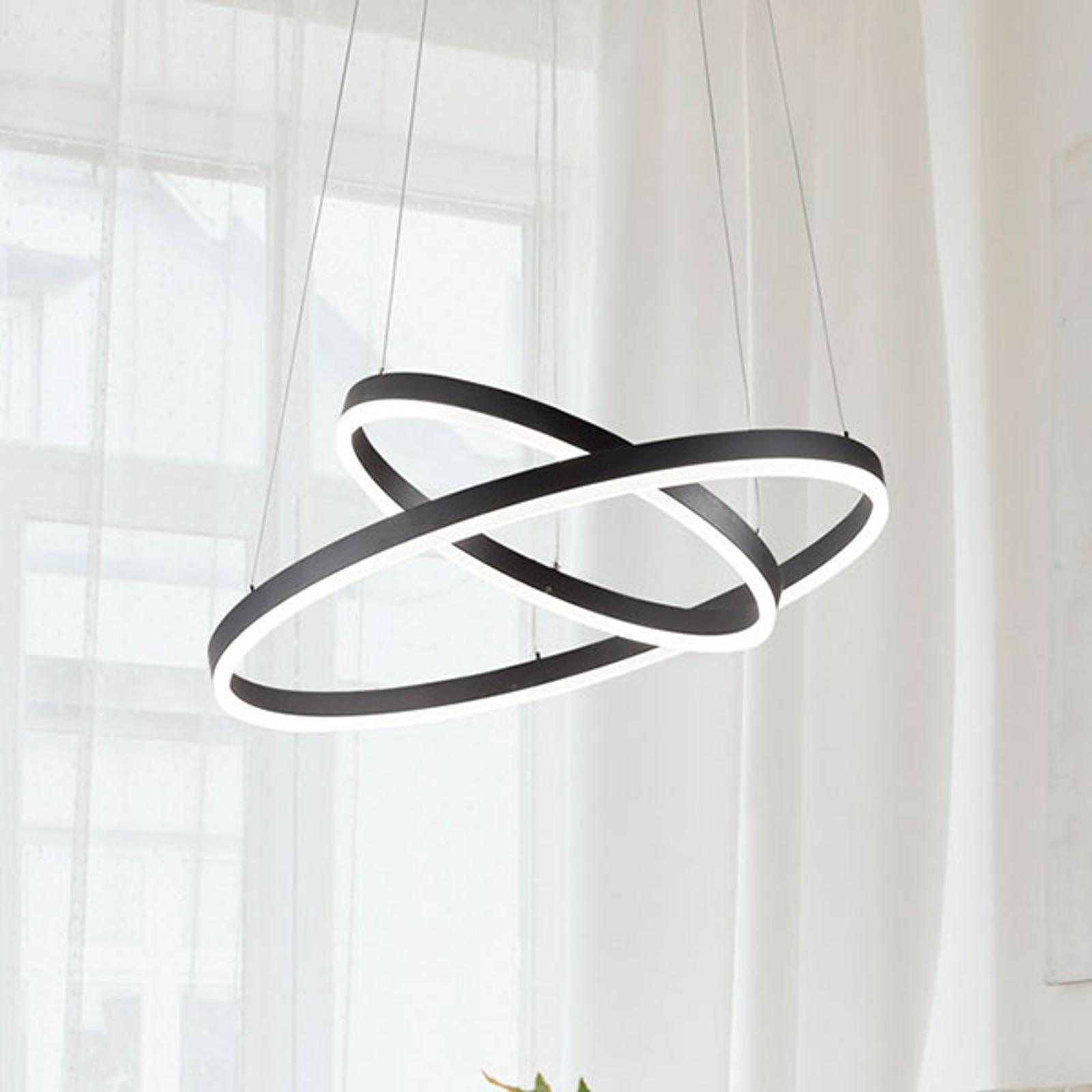 Lampada LED a sospensione Giotto, 2 luci, nero