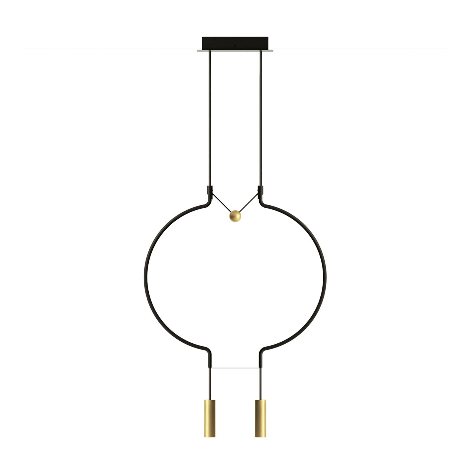 Axolight Liaison P2 hanglamp zwart/goud 56cm