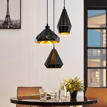 Pendellampe Kylian, svart, gyllen 3 lyskilder