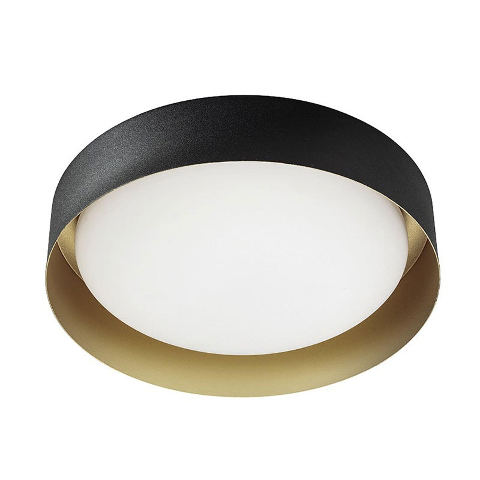 LED plafondlamp Crew 2, Ø 33 cm, zwart/goud