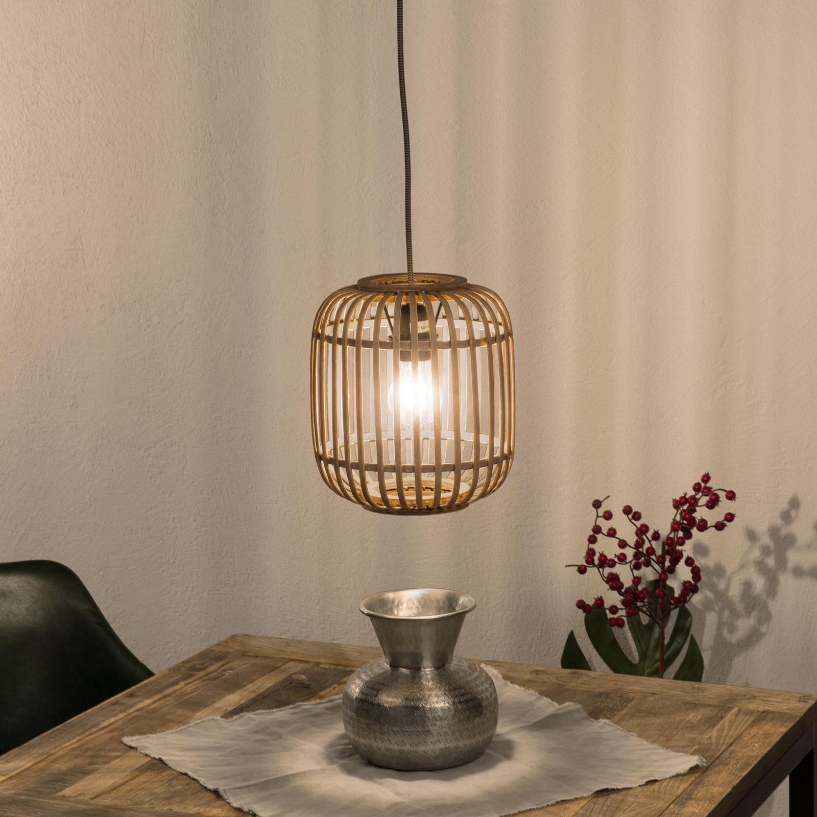 Závěsné světlo Malacca, dřevěné stínidlo, 1 zdroj