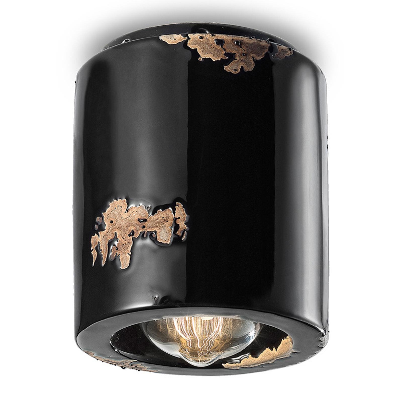Plafondlamp C986 in vintage-stijl, zwart