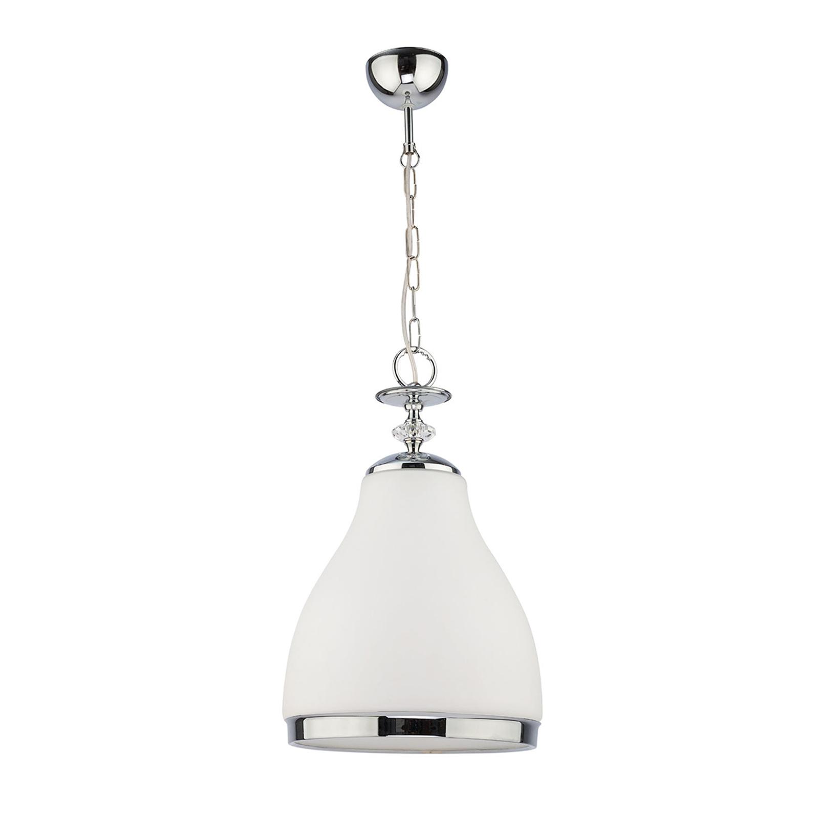 Hour hængelampe, krom, med opalglas