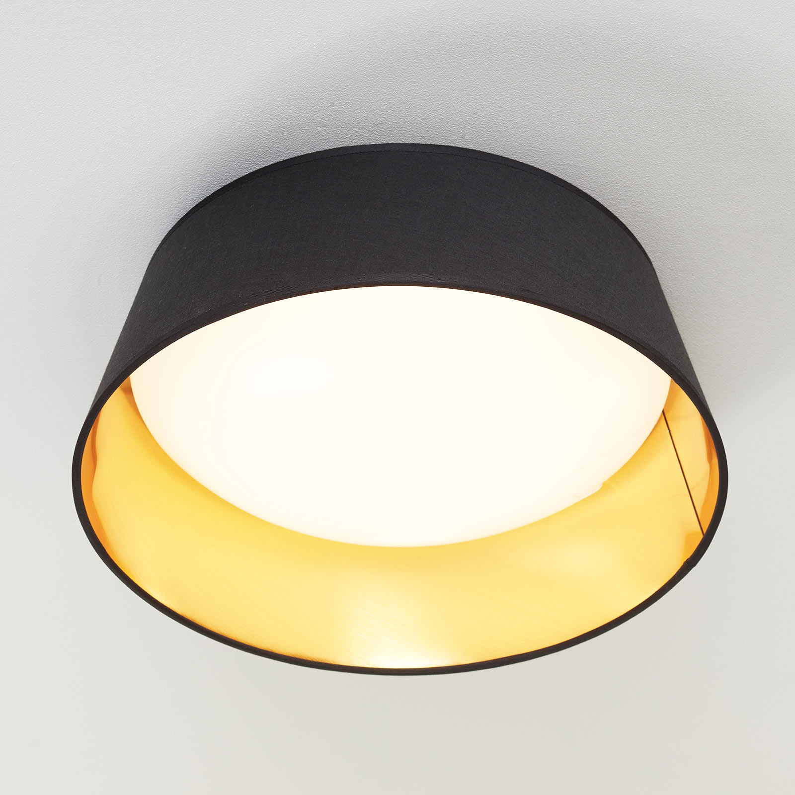 Czarno-złota, tekstylna lampa sufitowa Ponts z LED