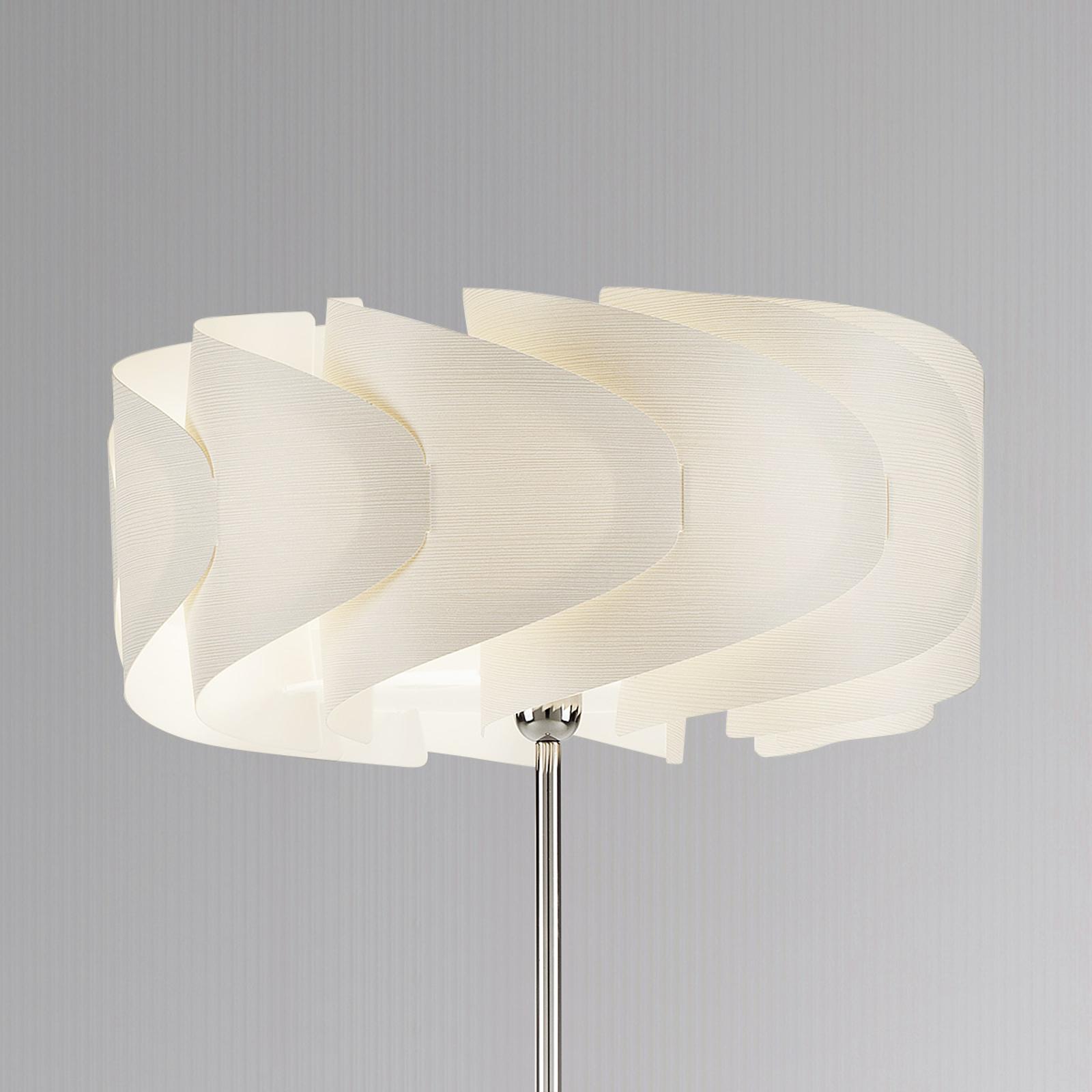 Lámpara de pie Piantana Ellix, look madera blanca