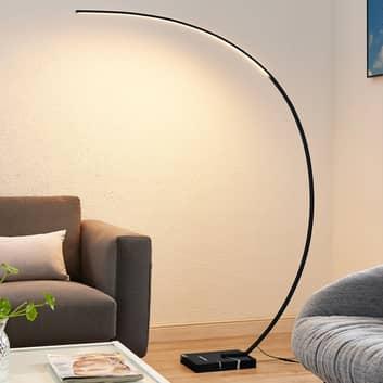 Lindby Kendra lampa łukowa stojąca LED, czarna