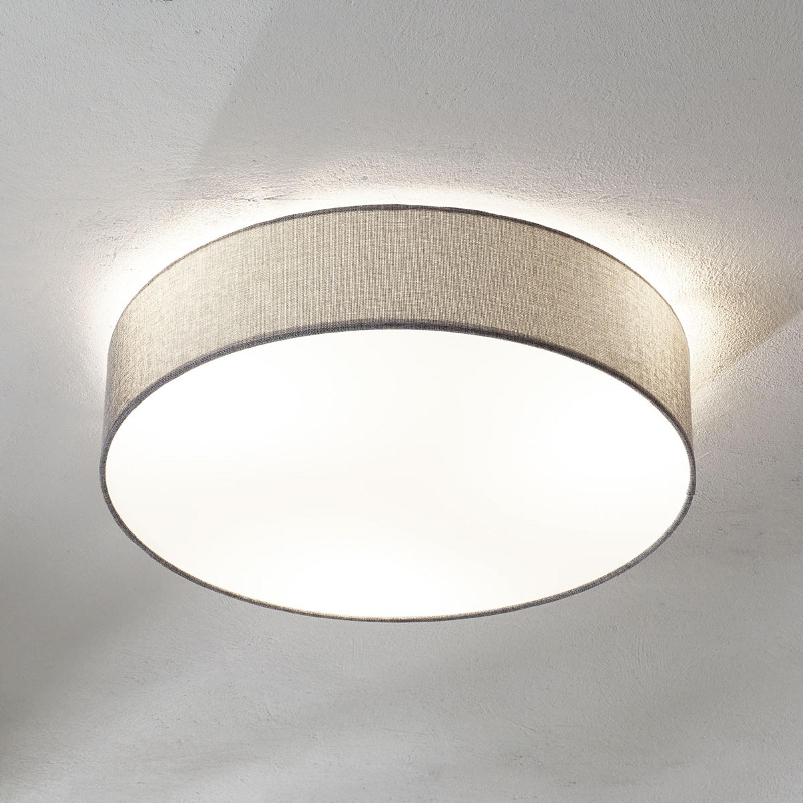 Szara lampa sufitowa Pasteri, lniany klosz, 57 cm
